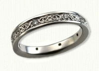 14KW Narrow Celtic Dara Knot Wedding Band shown with 8 optional accent diamonds