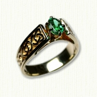 14KY Tapered Celtic Dara Ring with oval Emerald