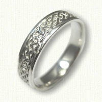 Sterling Silver Narrow Celtic Desboro Knot Wedding Band -5mm width