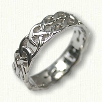 14kt White Gold Celtic Desboro Knot Wedding Band - Sculpted and Pierced