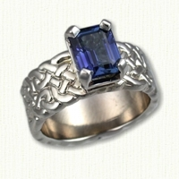 14KW Sculpted Celtic Double Knot Engagement Ring with emerald cut Blue Sapphire