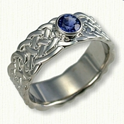 Sculpted Double Knot Band with .60ct Bezel Set Sapphire