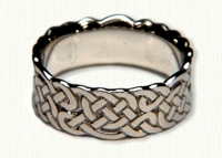 14kt White Gold Double Knot Wide Wedding Band - Sculpted