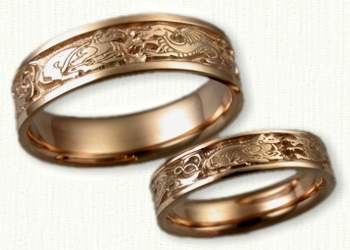 Celtic wolf wedding ring