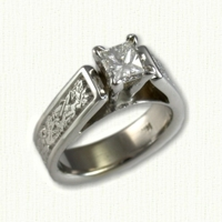 14kw 'Bridget' Engagement ring with dragon pattern and princess cut diamond