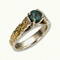 14KY sculpted 'Bridget' Engagement ring with dragon pattern and round green sapphire