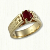 14KY 'Bridget' Engagement ring with dragon & cross pattern and oval Ruby