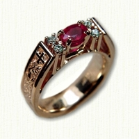 14kt rose 'Kathryn' Engagement ring with dragon & cross pattern, oval ruby and 4 small diamonds