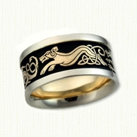 Celtic Dragon & Hound Wedding Band. Yellow center, white rails & black antiquing