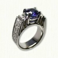 14KW 'Kathryn' Engagement ring with dragon pattern, oval blue sapphire and 4 small diamonds