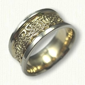 14kt Two Tone Gold Celtic Durrow Knot Wedding Band - 10 mm width