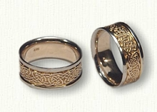14kt Two Tone Gold Celtic Durrow Knot Wedding Band Set