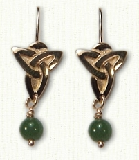 Triangle Earrings with Dangling Beads