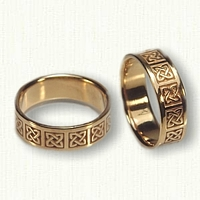18kt Yellow Celtic Ennis Block Wedding Band Set