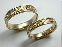14kt Yellow Gold Celtic Foxcroft Wedding Band Set - Narrow