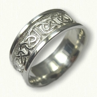 Sterling Silver Celtic Foxcroft Wedding Band - 8.0 mm width