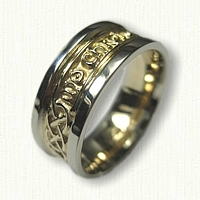 14kt Two Tone Gaelic Inscribed Wedding Band - My Heart Forever