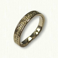 18kt Yellow Gold Celtic Galway Knot Wedding Band with Heart Shank