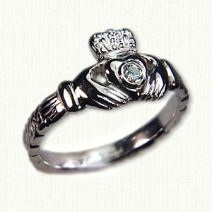14KW Small Claddagh ring with bezel set 0.10ct diamond & Galway Wave pattern - #1698