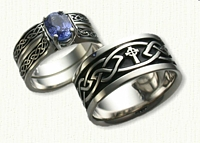 Glasgow Knot with Celtic Cross Band Engagement & Wedding Set - with a 1.25ct Oval Blue Sapphire