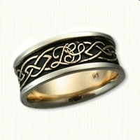 14kt Two Tone Custom Glasgow & Initial Band with Black Enamel In Recessed Areas