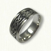 14kt White Gold Celtic Glasgow Knot with Fleur De Lis - Black Antiquing in recessed knot work