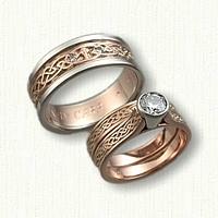 14kt Rose Gold Celtic Glasgow Knot Wedding & Engagement Ring Set