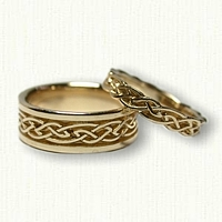 14kt Yellow Gold Celtic Glasgow Knot Wedding Band Set