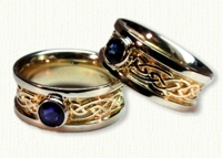 Custom Glasgow Knot Ring with Bezel Set Blue Sapphire - 14Kt yellow center/white rails