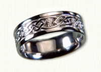 14KW Celtic Glasgow Knot & Cross Wedding Band