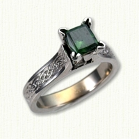 14KW Maureen engagement ring with glasgow knot pattern & princess cut green sapphire