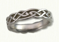 14KW Sculpted Glasgow Knot Wedding Bands