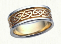 Celtic Greystone Knot Wedding Band - 14Kt yellow center/white rails
