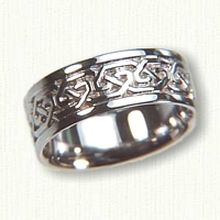14kt White Gold Celtic Greystone Knot Wedding Band - 7.0 mm width