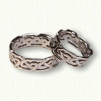 Platinum Celtic Pierced Greystone Knot Wedding Band Set