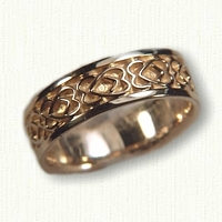 18kt Yellow Gold Celtic Twin Heart Wedding Band