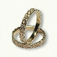 14kt Yellow Sculpted Celtic Twin Hearts Wedding Band Set