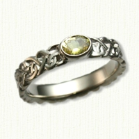 Sculpted Continuous Heart Knot Band with Oval Yellow Sapphire