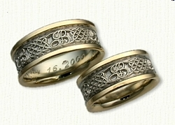 Celtic Four Heart Weave Band with Initials J & B Wedding Band Set-14kt Two Tone Gold