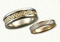 14kt Two Tone Celtic Interlocking Hearts knot Band-Reverse etch
