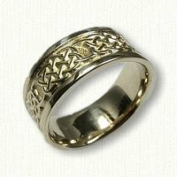 14kt Yellow Gold Celtic 4 Heart Weave Wedding Band -9mm width