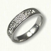 14kt White Gold custom mongram wedding ring with four heart weave and initial