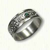 Sterling Silver Celtic Continuous Heart Knot Band with Claddagh & Bezel Set Chatham Emerald