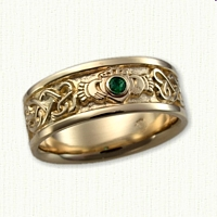 14kt Yellow Gold Continous Heart Knot Band with Claddagh