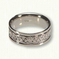 14kt white gold Celtic Interlocking Hearts Wedding Band- Reverse Etch