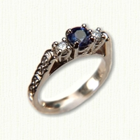 14kt yellow gold Heather Engagment Ring with Murphy Knot pattern, round blue sapphire and two diamonds
