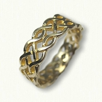 14kt Yellow Gold Celtic Hillsborough Knot Band - pierced & sculpted