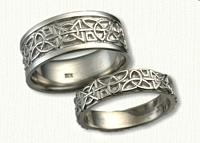 Custom Hugs & Kisses & Triangle knots Wedding Band Set