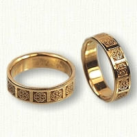 14kt Yellow Gold Celtic Michelle Knot Wedding Band Set