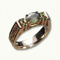 14kt yellow 'Katherine' Engagement Ring with oval green sapphire 5mm width